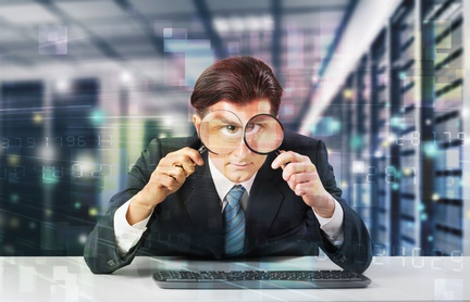 cyber security officer looking through magnifying glasses - humor