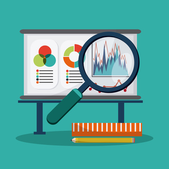 SEO concept with searching icons and graph